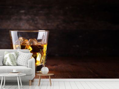 Glass of scotch whiskey and ice