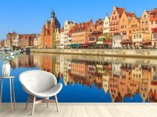 Harbor of Motlawa river with old town of Gdansk, Poland