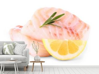 Cod fish fillet with lemon, rosemary on white
