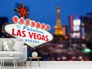 LAS VEGAS - MAY 12 : Welcome to fabulous Las Vegas neon sign wit