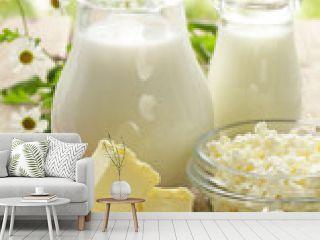 assortment of dairy products (milk, butter, sour cream, yogurt)