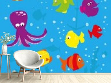 Underwater scene with  fish, crab, octopus, bubbles and pirate chest