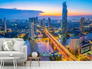 Landscape of river in Bangkok cityscape in night time