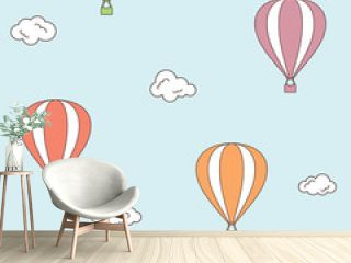 Seamless pattern with hot air balloons and clouds