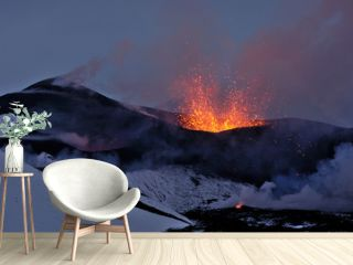 New Tolbachik Fissure Eruption  (lava ejection from the crater)