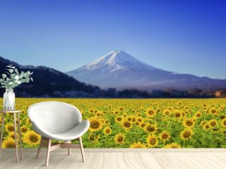 Beautiful landscape with sunflower field with Fuji mountain background.