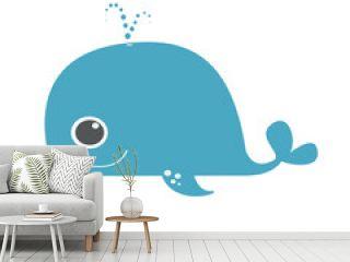 Cute blue whale vector design