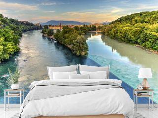 Rhone and Arve river confluence, Geneva, Switzerland, HDR