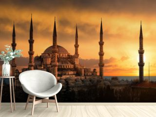 The Blue Mosque in Istanbul during sunset