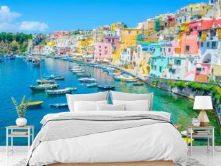 italian island procida is famous for its colorful marina, tiny narrow streets and many beaches which all together attract every year crowds of tourists coming from naples - napoli.