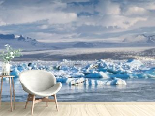 lagoon of glacier Fjallsarlon in Iceland