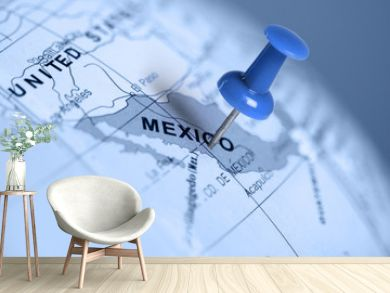 Location Mexico. Blue pin on the map.