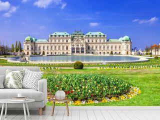 Belvedere palace ,Vienna Austria ,with beautiful floral garden