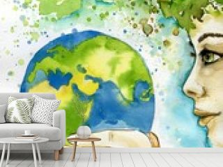 watercolor illustration depicting the earth