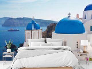 view of caldera with blue domes, Santorini