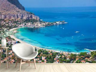 Panoramic view of Mondello white beach in Palermo, Sicily.
