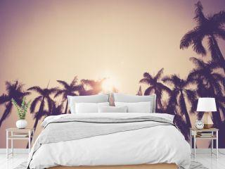 coconut palm tree silhouette vintage retro