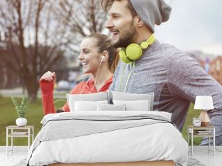 Endorphins during the jogging with girlfriend