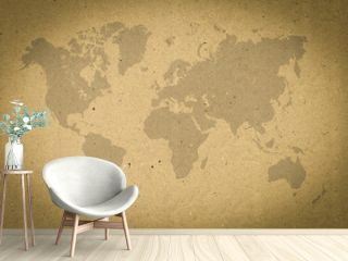 world map on brown paper