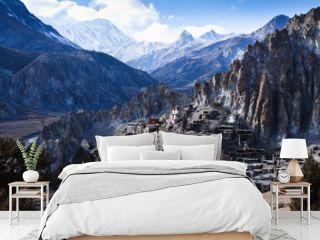 Himalaya mountains in Nepal, view of small village Braga on Annapurna circuit