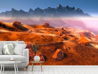 Mars - dry dunes, rocks of the red martian landscape