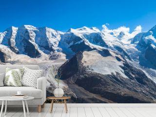 Panorama view of Bernina massive and Morteratsch glacier