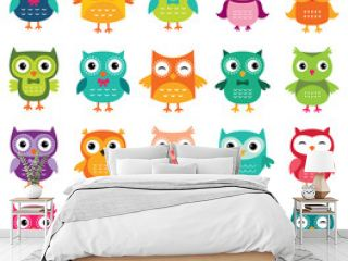 Cute cartoon owls collection