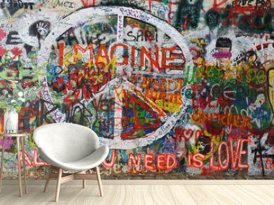Colourfull peace graffiti on wall