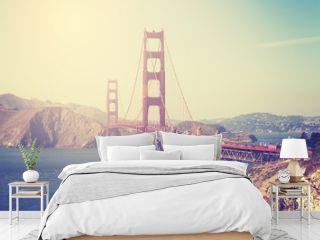 Vintage toned picture of the Golden Gate Bridge, San Francisco.