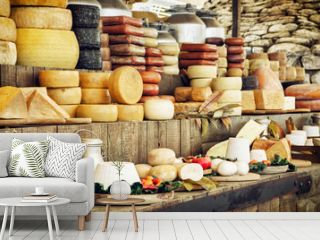 Dairy products and vegetables, grocery shop