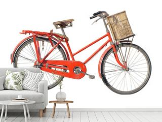 Retro styled image of a vintage red bicycle isolated on a white background