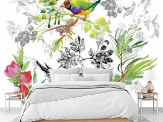 Watercolor hand drawn pattern with tropical summer flowers of