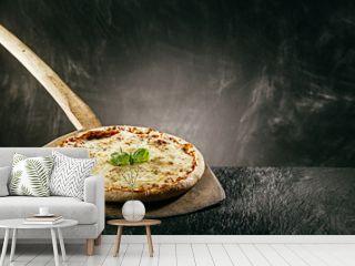Steaming hot tasty margarita Italian pizza