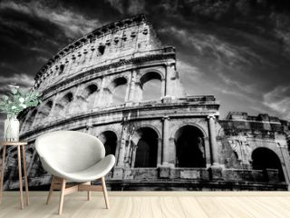 Colosseum in Rome, Italy. Amphitheatre in black and white