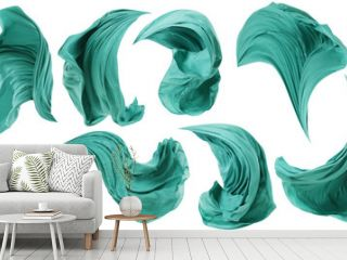 Fabric Cloth Flowing Wind, Textile Wave Flying In Motion, White