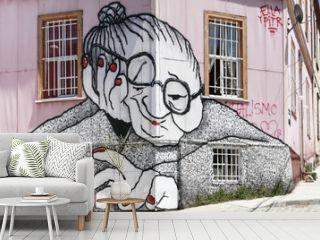 graffiti old woman facade valparaiso