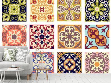 Vintage retro ceramic tile pattern set.