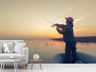 Man fishing on the lake