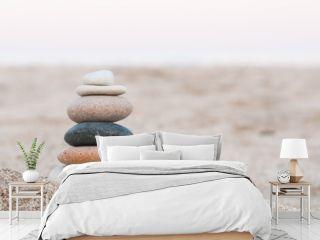 Zen Stones / Stacked zen stones on the beach