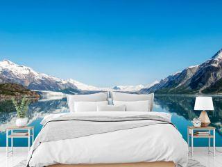 Mountains reflecting in still water, Glacier Bay National Park, Alaska, United States