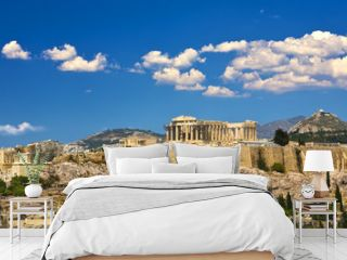 Greece. Athens. Cityscape with the Acropolis of Athens (seen from Philopappos Hill)