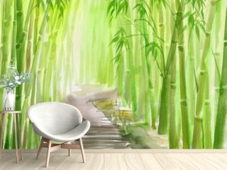 Single path alley through green bamboo forest original watercolor painting.