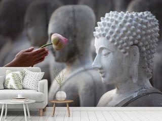hand respect to buddha image