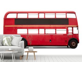 Red London bus, double decker on white, clipping path