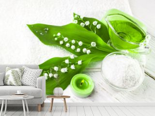 Spa. sea salt essential oils and lily of the valley