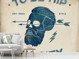 Poster of vintage skull hipster label. Retro old school set. Vector Illustration with typographic for t-shirt prints.