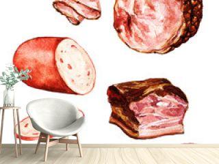 Watercolor Food Clipart - Bologna, Ham, Bacon