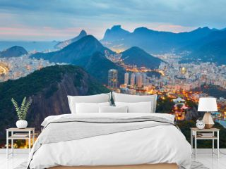 Night panorama of Rio de Janeiro, Brazil