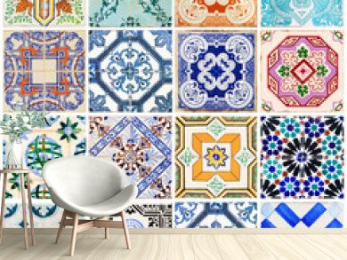 Beautiful collage of all kind of different tiles of the houses of Lisbon, Portugal
