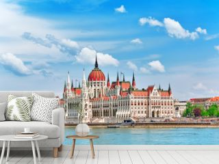 Hungarian Parliament at daytime. Budapest. View from Danube rive